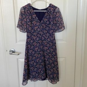 Madewell Fit and Flare Dress Navy Floral Size 0